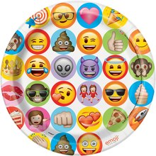 "9"" Celebration Emoji Party Plates, 8ct"