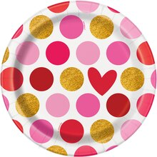 "7"" Gold Happy Valentine's Day Party Plates, 8ct"