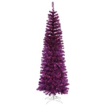 4.5 Ft. Pre-Lit Purple Tinsel Pencil Artificial Christmas Tree, Purple Lights