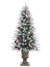 4.5 Ft. Pre-Lit Flocked Artificial Pine Christmas Tree with Cones & Berries, Clear