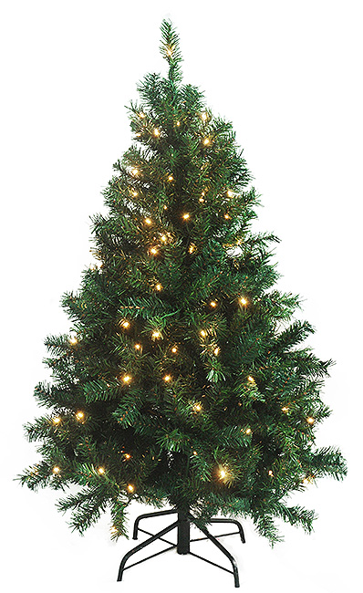 4.5 Ft. Pre-Lit Green Cedar Pine Artificial Christmas Tree, Clear ...