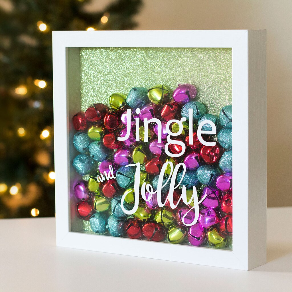 Jingle and jolly ornament shadow box for Michaels crafts christmas trees