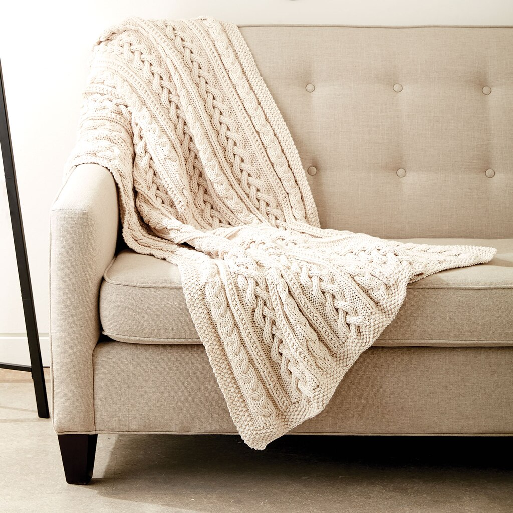 Bernat Maker Home Dec Braided Cables Knit Throw