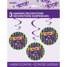Hanging Masquerade Mardi Gras Decorations, 3 Count Packaged