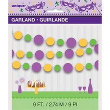 Paper Masquerade Mardi Gras Circle Garland, 9 Ft Packaged
