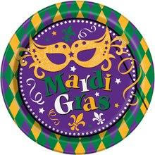 "9"" Masquerade Mardi Gras Party Plates, 8 Count"