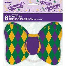 Wearable Paper Bow Tie Masquerade Mardi Gras Party Favors, 6 Count Packaged