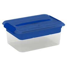 Cre8ted Space Latchmate Transparent Storage Box with Tray, 14.5 qt., Blue