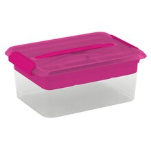Cre8ted Space Latchmate Transparent Storage Box with Tray, 14.5 qt., Pink
