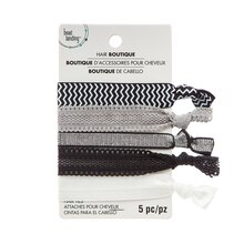 Black, White & Silver Hair Ties By Bead Landing