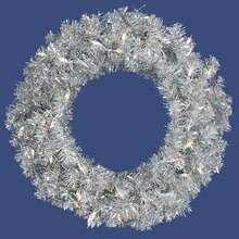 "24"" Pre-Lit Sparkling Silver Tinsel Artificial Christmas Wreath, Clear Lights"
