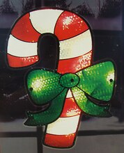 "15"" Lighted Holographic Candy Cane Christmas Window Silhouette Decoration"