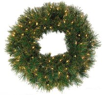 "24"" Pre-Lit Tattinger Long Needle Pine Artificial Christmas Wreath, Clear"