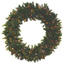 "24"" Pre-lit Battery Operated Canadian Pine Artificial Christmas Wreath, Multicolor LED Lights"