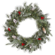 "36"" Pre-Lit Frosted Pine Berry Artificial Christmas Wreath, Clear Lights"