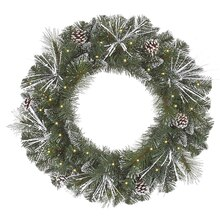 "24"" Pre-Lit Flocked and Glittered Mixed Pine Artificial Christmas Wreath, Clear Lights"