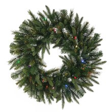 "30"" Pre-Lit Battery Operated Mixed Cashmere Pine Artificial Christmas Wreath, Multi LED Lights"