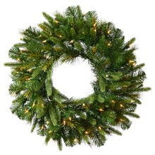 "30"" Pre-Lit Battery Operated Mixed Cashmere Pine Artificial Christmas Wreath, Clear LED Lights"