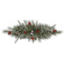 "30"" Pre-Lit Frosted Pine Cone & Berry Christmas Swag, Clear Lights"