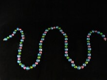 6' Shimmering Pink Blue & Green Holographic Mini Ball Christmas Garland