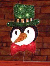 "16"" Lighted Tinsel Penguin in Top Hat Christmas Window Silhouette Decoration"