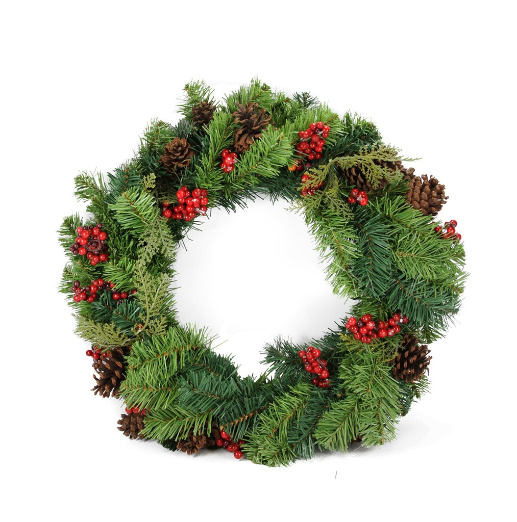 24 red berry and pine cone artificial christmas wreath unlit for Christmas wreath