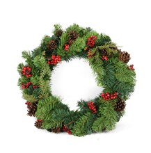 "24"" Red Berry and Pine Cone Artificial Christmas Wreath, Unlit"