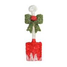 """32"""" Lighted Tinsel Snow Shovel with Bow Christmas Window Decoration"""