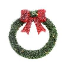 "16"" Lighted Tinsel Green Wreath with Bow Christmas Window Decoration"