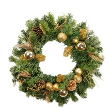 "24"" Pre-Decorated Gold Pine Cone Apple and Ball Ornament Artificial Christmas Wreath, Unlit"