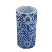 "6"" Blue Brocade Flameless LED Color Changing Wax Candle"