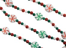 6' Peppermint Twist Sweet Tooth Sugared Red, Green & White Candy Beaded Christmas Garland