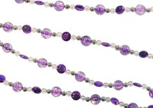 6' Whimsy Royal Purple Silver & Clear Beaded Christmas Garland