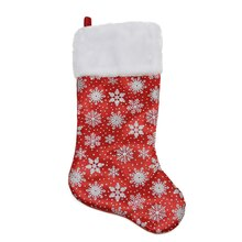 "20"" Red Glittered Snowflake Christmas Stocking with White Faux Fur Cuff"
