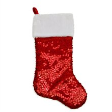 "20"" Shiny Red Holographic Sequined Christmas Stocking with White Faux Fur Cuff"