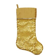 "20"" Shiny Gold Holographic Sequined Christmas Stocking with Velveteen Cuff"