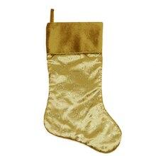 "20"" Gold Glittered Swirl Christmas Stocking with Shadow Velveteen Cuff"
