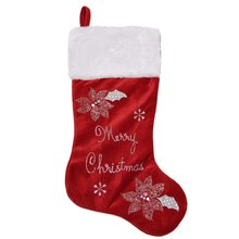 "20"" Embroidered Red Velveteen Poinsettia ""Merry Christmas"" Stocking with White Faux Fur Cuff"