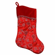 "20"" Red & Silver Glittered Floral Christmas Stocking with Shadow Velveteen Cuff"