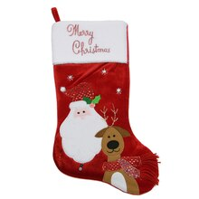 "20"" Embroidered Red Velveteen ""Merry Christmas"" Santa Claus & Reindeer Stocking"