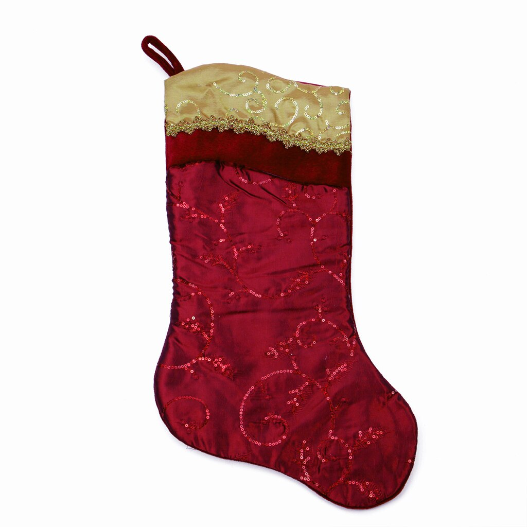 "20"" Burgundy Red & Gold Leaf Christmas Stocking with Wavy ..."