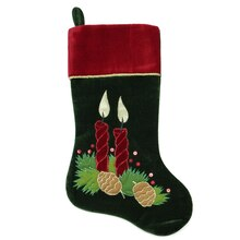 "20"" Dark Green & Burgundy Candle with Pinecones Christmas Stocking"