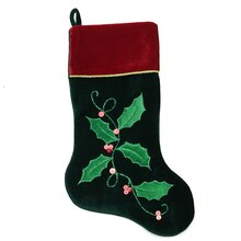 "20"" Dark Green & Burgundy Holly Berry Christmas Stocking"