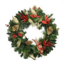 """24"""" Pre-Decorated Gold Pine Cone Eucalyptus and Red Bow Artificial Christmas Wreath, Unlit"""