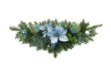 "24"" Peacock Blue & Silver Balls with Poinsettias Christmas Swag"