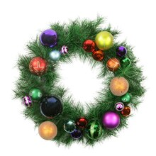 "24"" Pre-Decorated Multi-Color Ball Ornament Long Needle Pine Artificial Christmas Wreath, Unlit"