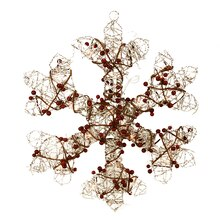 """19"""" Lighted Champagne Gold Glittered Rattan Berry Hanging Snowflake Window Decoration"""