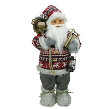 "24"" Nordic Standing Santa Claus with Snow Sled & Gift Bag"