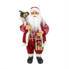 "24"" Country Twist Standing Santa Claus with Snow Sled & Gift Bag"