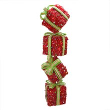 """34"""" Lighted Sparkling Red Tinsel Candy Gift Box Tower Christmas Yard Art Decoration"""